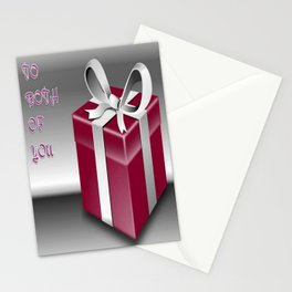 A Red Wrapped Gift Box To Both Of You  Stationery Cards