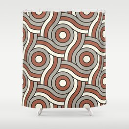 Circle Swirl Pattern Ever Classic Gray 32-24 Red River 4-21 and Dover White 33-6 Shower Curtain