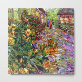 Yellow Flowering Shrubs and Floral Garden Walkway painting by Emil Nolde Metal Print