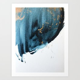 Sapphire and Gold Abstract Art Print