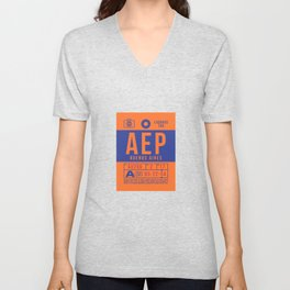 Baggage Tag B - AEP Buenos Aires Argentina Unisex V-Neck