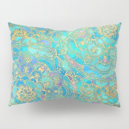 Sapphire & Jade Stained Glass Mandalas Pillow Sham