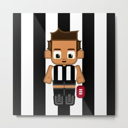 Super cute sports stars - Black and White Aussie Footy Metal Print