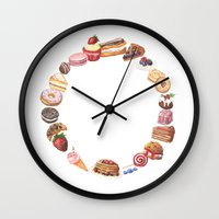 eat Wall Clocks featuring Eat by vinceynoir