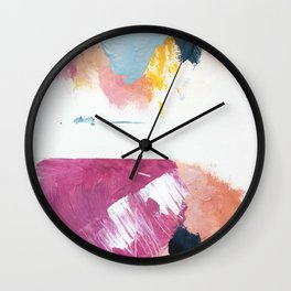 Cotton Candy: a bright, colorful abstract in pinks, blues, yellow, and white Wall Clock