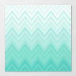 Fading Teal Chevron Canvas Print