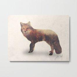 Fox (Double Exposure Animal Portraits) Metal Print