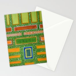 Filled Rectangles on Green Dotted Wall Stationery Cards