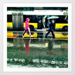 Rain II - yellow Art Print