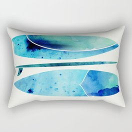 Blue Watercolor Surfboards Rectangular Pillow