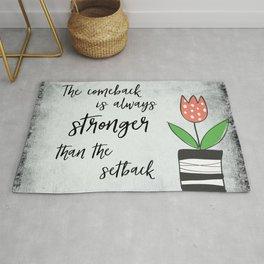 Inspirational Quote: Comebacks and Setbacks Rug