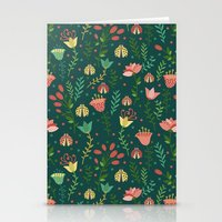 floral pattern Stationery Cards featuring Floral pattern by Julia Badeeva