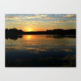Beautiful Orange Sunset Over Lake Canvas Print