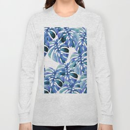 Monstera Pattern Blue Long Sleeve T-shirt