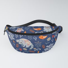 Fairy forest with animals and birds. Raccoons, owls, bunnies and little chick. Fanny Pack