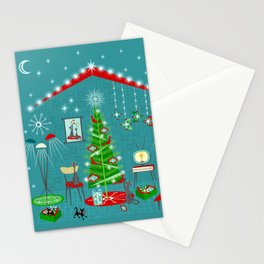 Retro Holiday Decorating iii Stationery Cards