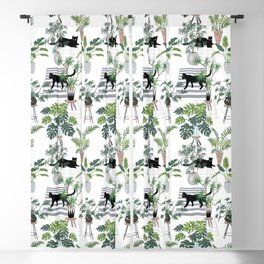 cats in the interior pattern Blackout Curtain