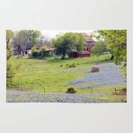 Old Red Barn and Rolling Bluebonnet Hills Rug