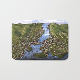 MYSTIC RIVER CONNECTICUT city old map Father Day art print Bath Mat