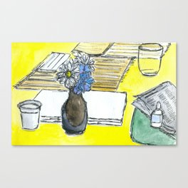 Mini Ikebana on a table Canvas Print
