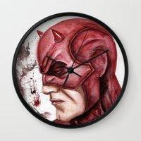 daredevil Wall Clocks featuring Daredevil by rchaem