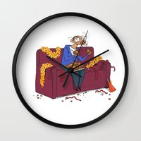 percy jackson Wall Clocks featuring Percy eating appelflappen by Natali Voorthuis