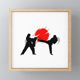 Illustration female martial art fighters red sun Framed Mini Art Print