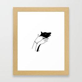 Dog shadow Framed Art Print