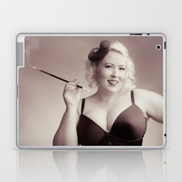 """Of Corset Darling"" - The Playful Pinup - Vintage Corset Pinup Photo by Maxwell H. Johnson Laptop & iPad Skin"