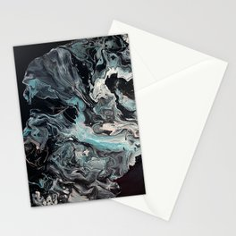 Aqua, Pink, White and Black Twist of colors Stationery Cards