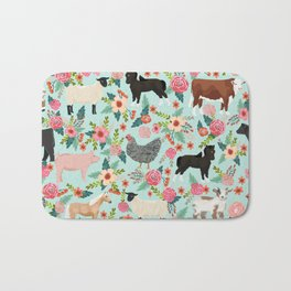 Farm animal sanctuary pig chicken cows horses sheep floral pattern gifts Bath Mat