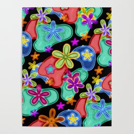 Colorful Retro Flowers Fractalius Pattern Poster