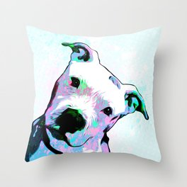 Pit bull - Puzzled - Pop Art Throw Pillow