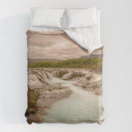 Bruarfoss Summer Iceland Waterfall Dramatic Landscape Comforters