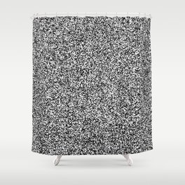 Spacey Melange - White and Black Shower Curtain