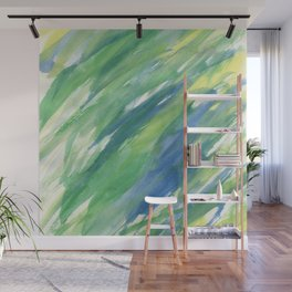 Blue green yellow watercolor hand painted brushstrokes Wall Mural