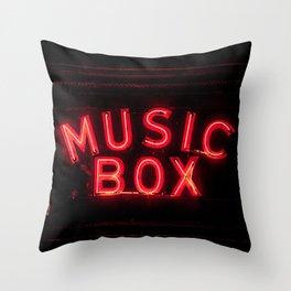 The Music Box Neon Sign Chicago Illinois Arthouse Theatre Vintage Cinema Movie House Theater Throw Pillow