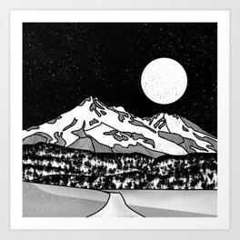 Mount Shasta Black and White Art Print