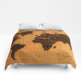 The Wooden World Map (Color) Comforters