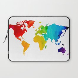Original Watercolor - Map of The World - Travel Art - Chakra Rainbow Colors Laptop Sleeve