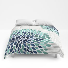 Blooms and Stripes, Aqua and Navy Comforters