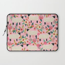 Suffolk Sheep farm floral cute animals sheep lover nature florals pattern homestead gifts Laptop Sleeve