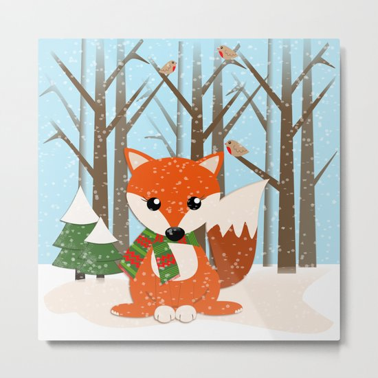 Cute winter fox with a red / green scarf, Metal Print