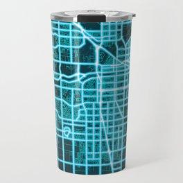 Bakersfield, CA, USA, Blue, White, Neon, Glow, City, Map Travel Mug