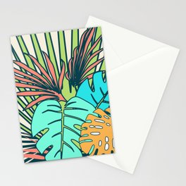 Tropical leaves cream Stationery Cards
