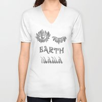 woodstock V-neck T-shirts featuring Earth mama by daniroxanne
