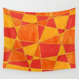 Abstract Watercolor Skewed Color Blocks - Red, Yellow, Orange Wall Tapestry