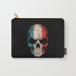 Dark Skull with Flag of France Carry-All Pouch