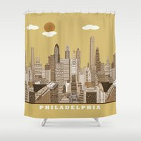 philadelphia Shower Curtains featuring Philadelphia skyline vintage by bri.buckley