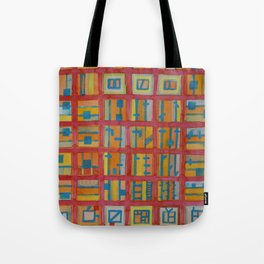 Red Grid with House Technic and Supply Tote Bag